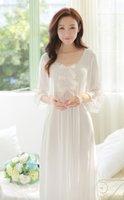 Wholesale Ladies Negligees - Wholesale- Free Shipping Princess Nightdress Women's White Long Pyjamas Thin Material Nightgown Autumn Sleepwear Ladies negligee