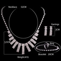 Wholesale Alloy Jewelry Rings - 2017 New Crystal Silver Rhinestone Necklace Earrings Jewelry Ring 4 Sets Girl and Women Brides Accessories Homecoming Party Bridal Wedding