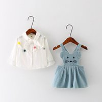 Wholesale Cotton Corduroy Girl Dress - 2017 Spring New Girl Sets Corduroy Cat Suspender Dress+Long Sleeve White Shirts Outfits Children Clothing 1-4Y 17154