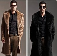 Wholesale Men Winter Sweater Fur - Men's Jackets Winter Costumes Warm Coats Men Clothing Faux Fur Windbreaker Lapel Neck Cardigan Sweater Long Sleeve Slim Outwear Jacket