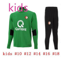 Wholesale Train Set Free - In stock! Free epacket top Quality Soccer Jersey2017 2018 Feyenoord kids kit training suit Kuyt Lex VILHENA 17 18 KIDS green tracksuit sets