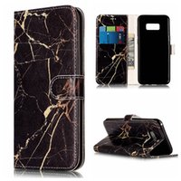 Wholesale Marble Case Galaxy - For Galaxy S8 Plus Wallet Leather Phone Case Marble Flower Cover with TPU inner for Samsung S6 S7 Edge
