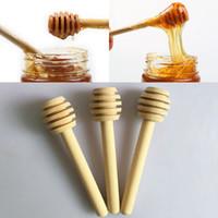 Wholesale Mini Wooden Spoons - 8cm Long Mini Wooden Honey Stick Honey Dippers Party Supply Spoon Stick Honey Jar Stick Free DHL WX-C30