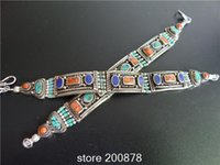 Wholesale Bb Bracelet Gold - Wholesale- BB-470 Nepalese Amazing Copper inlaid colorful Stone Bracelet Bangles,turquoise coral