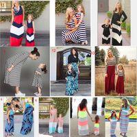 strandkleid mom tochter großhandel-40 Familien heiße Muttertochterkleid-Sommerfamilie der Verkäufe zusammenpassendes Kleid streifte buntes Strandkleid ab freies Verschiffen