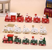 Wholesale Wholesale Wooden Christmas Train - 25cm Wood Christmas Train Toy Decoration Decor Gift Onarment Xmas Gift Santa Clause Snowman Toys For Kids Free Shipping