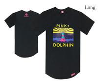 camisas cor-de-rosa do pescoço do golfinho venda por atacado-GOLFINHO ROSTO camiseta de vela longa extensão preto camiseta tripulação pescoço hip hop rocha rap t-shirt de roupas de verão de manga curta