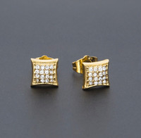 Wholesale Diamond Square Stud Earring - Fashion Classic Gold Color Crystal Stud Earring Micro Alloy Cz Simulated Diamonds Square Screw Back Earring