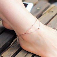 Wholesale Gold Layer Anklet - Boho Style Anklets Gold Color Multi Layer Chain Heart Charm Anklets for Women Beach Barefoot Sandals Foot Jewelry