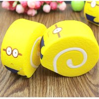 Wholesale Despicable Charms - Jumbo 10CM Squishy Despicable Me Minions Cake Roll Soft Bread Scented Cellphone Charm Strap