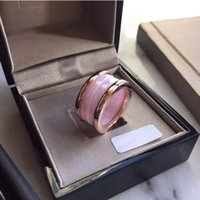 Wholesale Ceramic Ring Titanium - Famous Brand Top Quality 316L Stainless Steel Rings with Pink Ceramic in Gold and Rose Gold and Silver Plated Women Rings Fashion Wedding Je