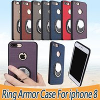 Wholesale Black Plastic Edging - Ring Armor Case For IPhone X 8 7 6 Plus 6S Protective High Quality Phone Case For Samsung S6 S7 Edge S8 Plus