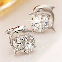 yunus küpesi saplaması toptan satış-Güzel kristal göz yunus CZ saplama küpe kadın 925 ayar gümüş takı