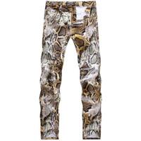 Wholesale Male Night - Wholesale- 2016 New Mens Snakeskin Printed Jeans Slim Fit Skinny Night Club DJ Trousers Pants Slacks For Male Plus Size