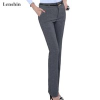 Wholesale-Lenshin Belt Loop Plus Size Calças Formal para Mulheres Office Lady Style Work Wear Straight Trousers Female Clothing Business Design