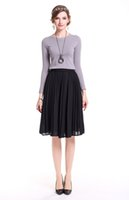Wholesale Big Gown For Woman - Spring Automn Fashion All-Match Elastic Waist Pleated skirt Mat MidiSkirt Long Bustskirt with big Himline expansion skirt for Women Fedmale