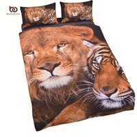 Wholesale King Size Tiger Bedding - Wholesale- New Arrival Tiger Bedding Set Cool Printed Duvet Cover Vivid 3D Comforter Twin Single Full Size Wholesale Sheets