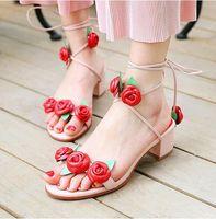 Wholesale Pink Rose Sandals Flower - Handmade 100% Genuine leather Shoes fashion designer women pink rose cross tied med heel sandals flowers inspired