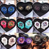 Wholesale Rubber Watches Women - Original Heart Box bag card case Lovers ga110 men autolight wristwatch Women Baby G couples watch