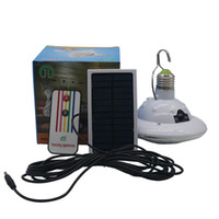 Wholesale Solar Led E27 - Solar Powered 22LED Round LED Light Remote Control Camping Tent Emergency Lights Dimmable E27 220V Dual Purpose