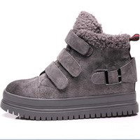 Wholesale Thick Sole Boots Heel - Women winter warm snow boots thick shoe sole lamb wool fur ankle boots classic windproof big size cotton shoes size 35-39