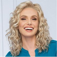 Wholesale Gold Lace Wig - HWG1236 Wigs Long Lace Long Rolls Loose Wavy Hair Gold 100% Heat Synthic Fiber Easy To Wear