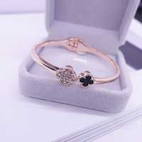 Wholesale Silver Rose Leaf - France Luxury Brand Four Leaf Clover Bangle Bracelet Fashion Jewelry Hight Quality Girl Gift Drop Shipping High Profit Hot Selling Rose Gold