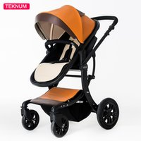 stable belts - 2017 X Type Stable Structure Sit And Lie High End Leather Portable Brown Baby Stroller With Detachable Safety Belt And Foot Brake