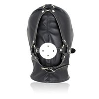 Wholesale Soft Leather Fetish Hoods - Top Grade Sex Mask Adult Games Sex Products Funny Black Soft Sexy Fetish PU Leather Restraints Headgear Hood Mask Slave Men Erotic Toys