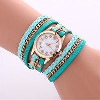 Wholesale Stainless Steel Leather Wrap Bracelet - Fashion Colorful Vintage women watches Weave Wrap Rivet ladies Leather Bracelet wristwatches chain dress watches for women ladies