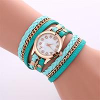 Wholesale Women Leather Wrap Bracelet Watch - Fashion Colorful Vintage women watches Weave Wrap Rivet ladies Leather Bracelet wristwatches chain dress watches for women ladies
