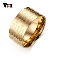 Anel de homens Vnox Gold / Silver Plated Classical 10mm Wide Stainless Steel Scripture Element Punk Jewelry