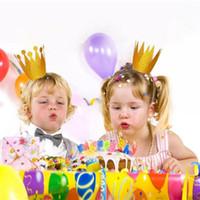 handgemachtes fühlendes haar großhandel-Großhandels-1 PC 3D Filz Jungen Mädchen Krone Hut Haarschmuck Handmade Glitter Filz Krone für den ersten Geburtstag Headwear Geburtstag Supplie