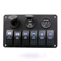 Imperméable IP65 Breaker Panel Rétro-éclairage LED 6 Gang LED Rocker Switch Panel Disjoncteurs Chargeur 12V 24V pour Boat Marine