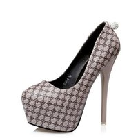 Wholesale Wedding Dresses Round Back - 2017 Elegant rhinestone back grid design high platform pumps sexy lady high heels shoes 14cm size 34 to 39