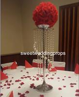 акриловые подставки для центральных частей оптовых-роскошный высокий висит акриловый хрустальный шар Кристалл свадьба цветок стенд центральные на продажу