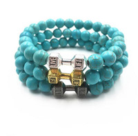 Wholesale Tiger Stone Accessories - European and American foreign trade new products popular natural stone tiger eye stone metal dumbbells bracelet bracelet accessories