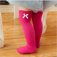 Wholesale Wholesale Knee High Socks Clothing - Promotion Newborn Toddler Knee High Socks 2017 Spring Baby Girls Bow Sock Leg Warmer 6 Solid Colors Kids Toddler Girl Clothing Accessory