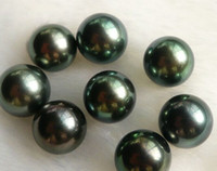 Wholesale Natural Round Tahitian Pearl - fine natural AAA+ ROUND 8.5, 9.5,10.5 11.5 12.5mm TAHITIAN BLACK PEARL HALF HOLE NAKED PEARLS BEADS DRILLED NOT FAKE