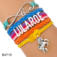 Wholesale Wholesale Pink Leather Charm Bracelet - (10 Pieces Lot) Infinity Love Lularoe Bracelet Horse Charm Wrap Bracelet Hot Pink Aqua Orange Multilayer Leather Cuff Wrist Band Jewelry