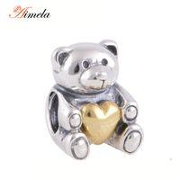 Wholesale Teddy Bear Best Gift - Wholesale- AIMELA Jewelry 925 Sterling Silver Gold Heart Teddy Bear Charms For Women Bracelet DIY Jewelry Making Best Mother Day Gift