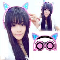 Wholesale Cat Stereos - Foldable Flashing Glowing Cat Ear headphones Gaming Headset LED lightOver on Ear Earphones For PC Laptop Computer Mobile Phone Cosplay