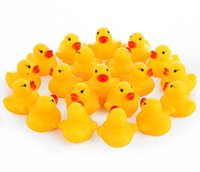 Wholesale Children Swim Toys - Baby Bath Toy Sound Rattle Children Infant Kids Mini Yellow Rubber Duck Swimming Bathe Gifts Wholesale 10pcs bag Free Shipping