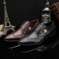 Wholesale Carved Wedge Shoes - Italy Brand Genuine Leather Men's Shoes Oxfords Vintage Wedding Dress Shoes Business Formal Brogue Round Toe Carved Wingtips Shoes Plus Size