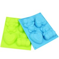 Wholesale Bear Cake Molds - 1 Pc 4 Even the Bear& Love Shape Silicone Cake Mold Chocolate Moulds Budding Mold DIY Soap Molds Bakeware Tool Random Color