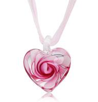colgantes de cristal de cristal veneciano al por mayor-Corazón con flores dentro de Murano Murano italiano veneciano de cristal colgantes de moda collares joyería hecha a mano envío gratis