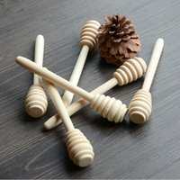 Wholesale Honey Spoons - Wholesale- 100pcs lot 14cm Length Wooden Honey Stirring Stick Wood Honey Spoon Dipper Party Supply