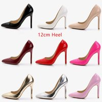 Wholesale Red Dinner Wedding Dress - Koovan Women Pumps 2017 Big-code super high heels women black silver red gold pointed shoes shallow mouth professional dinner 12cm