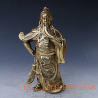 Wholesale Antique China Marks - Antique Collection Folk Art Chinese Brass Handwork Carved God Of GuanYu Statue w Qing Dynasty Mark