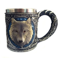Atacado - Game of Thrones 3D Wolf Mug Vidro de vinho de aço inoxidável gilf Whisky Cup Party Drinking Skeleton Claw Beer Steins